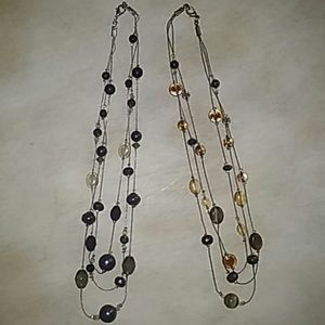 Jewelry - Necklace Bundle Lot Black Gray Brown Amber